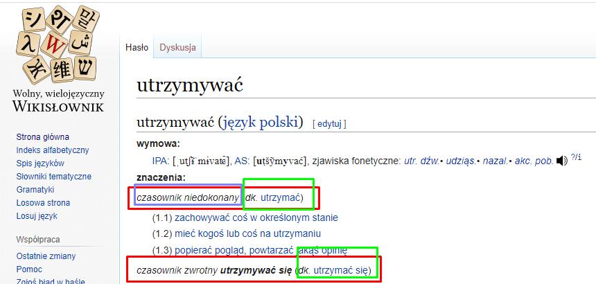 удерживать на польском